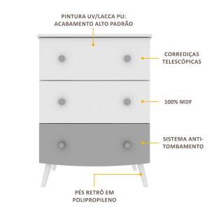 Cômoda 100% MDF 3 gavetas Doçura Multimóveis  Branco/Cinza/Branco