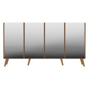 Aparador Buffet 4 portas com Espelho e Pés Retrô Vegas Multimóveis Rustic/Natural