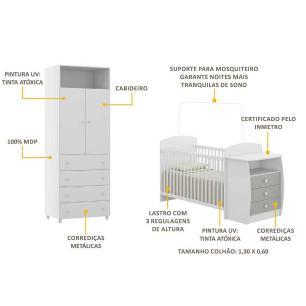 Guarda Roupa de 2 portas e 4 gavetas e berço-cômoda Rafael Multimóveis Branco/Cinza