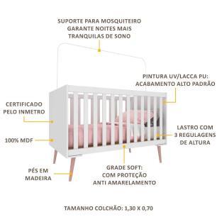 Berço Americano para Colchão 70 x 130 cm com Grade Soft Vintage Prime Multimóveis Branco/Rosa
