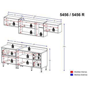 Cozinha Completa Multimóveis com 5 peças Calábria 5456 Nogueira