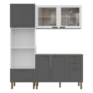Cozinha Completa 3 peças Americana Multimóveis 5909 Branco/Grafite