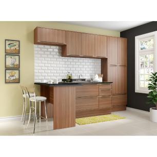 Cozinha Completa Multimóveis com 6 peças Calábria 5454R Nogueira