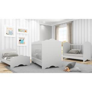 Berço Multimóveis Nuvem com Grade PVC Branco para Colchão 130cmx70cm REF. 0536PA