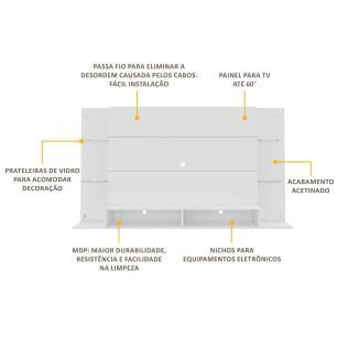 Painel para TV até 60 polegadas com prateleiras de vidro Braga Multimóveis Branco
