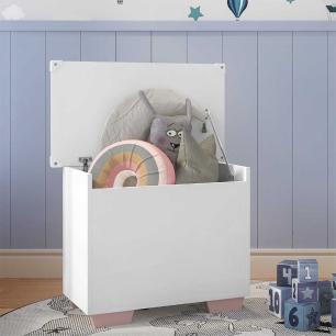 Baú Organizador Caixa de Brinquedos Pés Quadrados Multimóveis Branco/Rosa