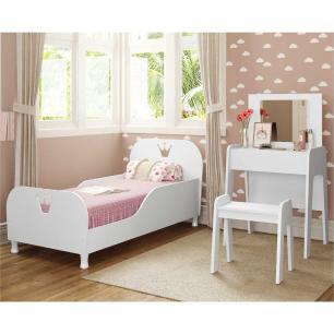 Cama Infantil com Penteadeira 100% MDF para colchão 70 x 150 cm Rei/Rainha Multimóveis Branca