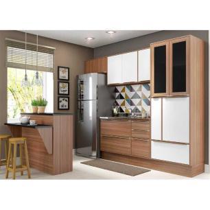 Cozinha Completa Multimóveis com 6 peças Calábria 5463R Nogueira/Branco