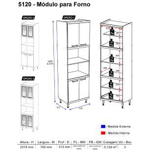 Paneleiro Multimóveis Sicília para forno e micro com vidro 5120 Argila/Preto
