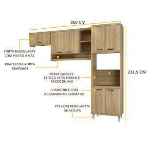 Cozinha Multimóveis Sicília 3 Peças 5161 Argila