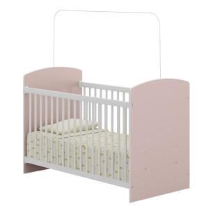 Quarto Infantil completo João e Maria Multimóveis Branco/Rosa com Berço + Guarda roupa + cômoda