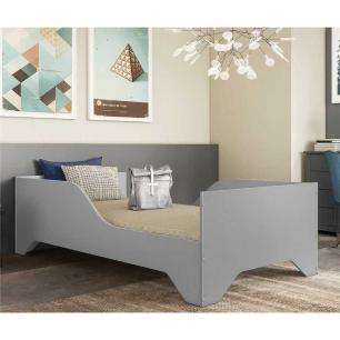 Cama Solteiro com Barras Proteção para colchão 88 x 188 cm 100% MDF Flex Sonho Multimóveis Cinza