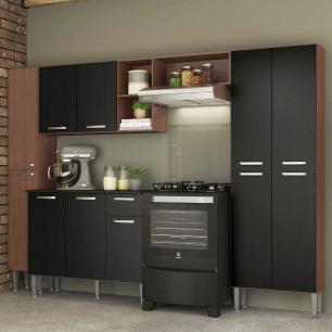 Cozinha Completa Compacta c/ Armário Balcão c/ Tampo 4 pçs Pequim Classic Multimóveis Carv.Avelã/Pto