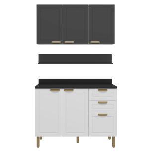 Cozinha Completa 4 peças Americana Multimóveis 5918 Branco/Grafite