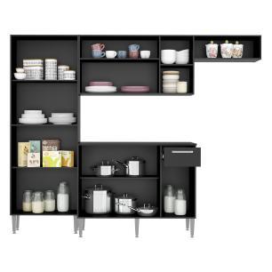 Cozinha Compacta Pequim 9 Portas MP2933 Multimóveis Preto