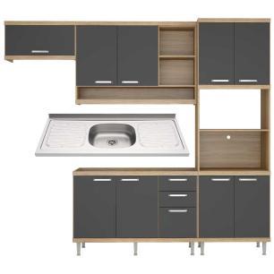 Cozinha Compacta com Pia Inox 5 peças Sicília Multimóveis MP3187 Madeirado/Grafite