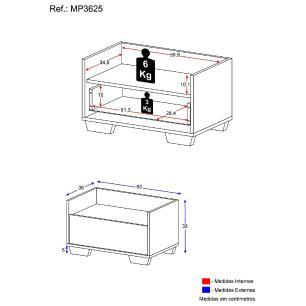 Gabinete Armário Banheiro 60 cm com Pés Quadrados Multimóveis Branco/Preto