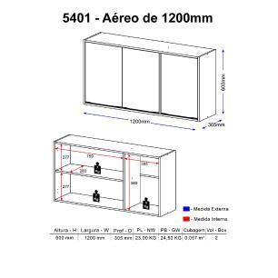 Armário Aéreo Multimóveis Calábria 120cm 5401 Nogueira/Branco