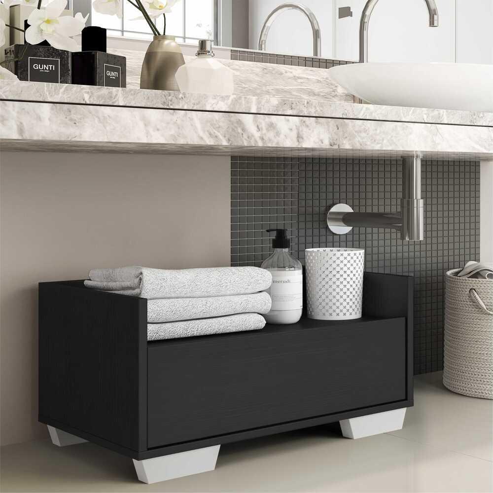 Gabinete Armário Banheiro 60 cm com Pés Quadrados Multimóveis Preto/Branco