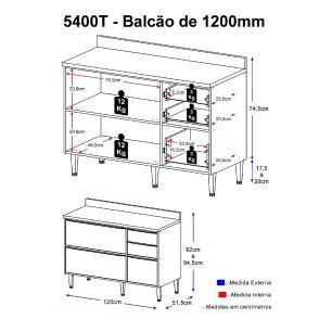Balcão Multimóveis Calábria 120cm com Tampo 5400T Nogueira