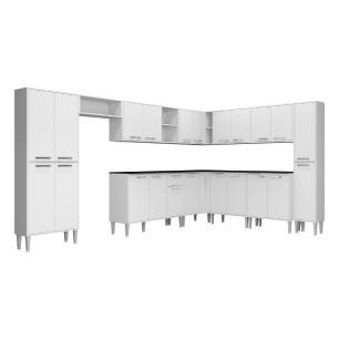 Cozinha Completa com Armário e Balcão com Tampo 11 peças Xangai Pop Multimóveis Branca