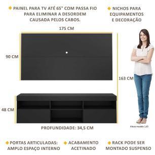 Painel TV até 65 polegadas com Rack Suspenso Flórida Multimóveis Preto