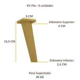Pés Palito Retrô - Kit com 6 unidades Multimóveis Natural