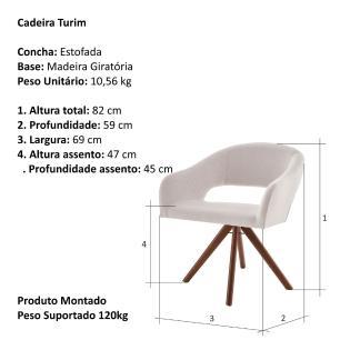 Poltrona Giratória Turin Bege Claro 1774 Base Madeira cor Imbuia