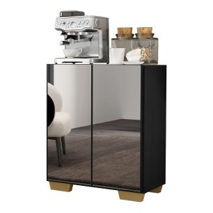 Aparador Cantinho do Café com Espelho e Pés Quadrados 2 Portas Multimóveis Preto/Natural