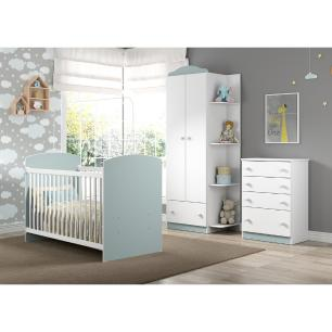 Quarto Infantil completo João e Maria Multimóveis Branco/Azul com Berço + Guarda roupa 2 portas + cômoda 4 Gavetas
