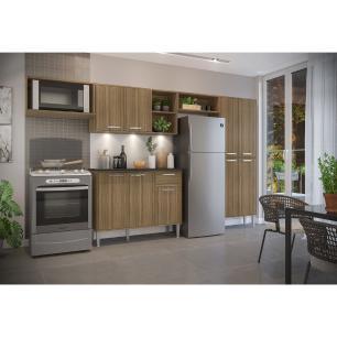 Cozinha Compacta com 3 Leds Armário e Balcão com Tampo Xangai Up Multimóveis Madeirada