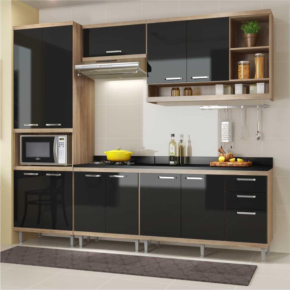 Cozinha Completa Multimóveis com 6 peças Sicília 5809 Argila/Preto