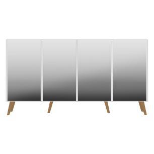Aparador Buffet 4 portas com Espelho e Pés Retrô Vegas Multimóveis Branco/Natural