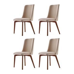 Conjunto de 04 Cadeiras de Jantar Fixa Arrezo Bege Escuro 4613 Base Madeira cor Imbuia