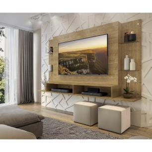 Painel para TV até 60 polegadas com prateleiras de vidro Braga Multimóveis Louro Freijó