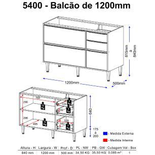 Balcão Multimóveis Calábria 120cm Para pia 5400 Nogueira