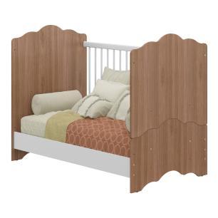 Quarto Completo infantil Helena Multimóveis Avelã/Branco com Berço mini cama + Guarda roupa 4 portas + cômoda 1 Porta e 4 Gavetas