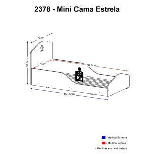 Cama Infantil para colchão 70 x 150 cm 100% MDF Estrela Multimóveis Branca