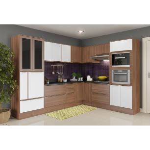 Cozinha Completa Multimóveis com 15 peças Calábria 5461RMF Nogueira/Branco