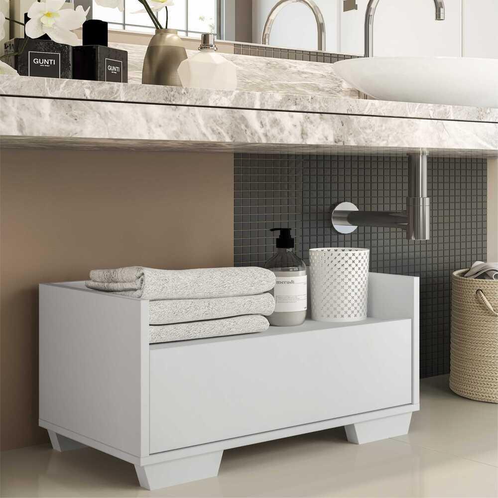 Gabinete Armário Banheiro 60 cm com Pés Quadrados Multimóveis Branco
