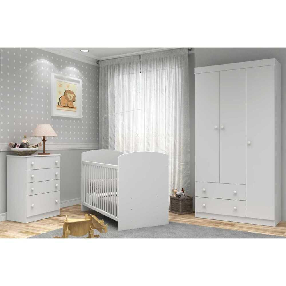 Quarto Completo Infantil Doces Sonhos Multimóveis Branco com Berço + Guarda-roupa + Cômoda