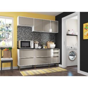 Cozinha Completa Compacta com Armário e Balcão com Tampo Nice Multimóveis Branco/Lacca Fumê