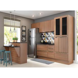 Cozinha Completa Multimóveis com 8 peças Calábria 5463R Nogueira