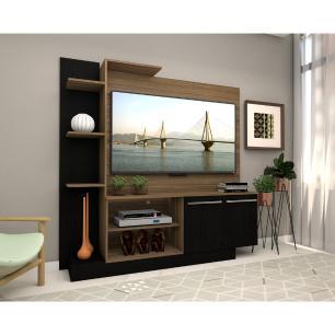 Estante com painel para TV até 55 polegadas e 2 portas Porto Multimóveis Madeirado/Preto