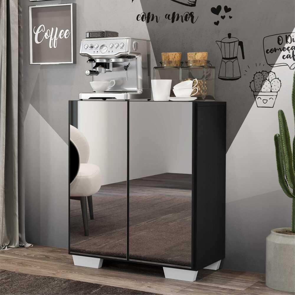 Aparador Cantinho do Café com Espelho e Pés Quadrados 2 Portas Multimóveis Preto/Branco