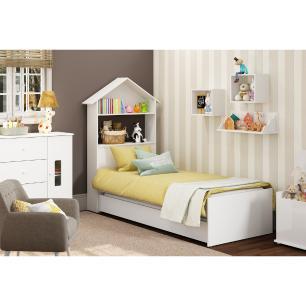 Bicama Solteiro Infantil c/ Cabeceira Casinha e Baú p/ colchão 188 x 78 cm House Multimóveis Branca