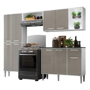 Cozinha Completa Compacta c/ 2 Leds, Armário e Balcão c/ Tampo 4 pçs Xangai Multimóveis Bca/Lca Fumê