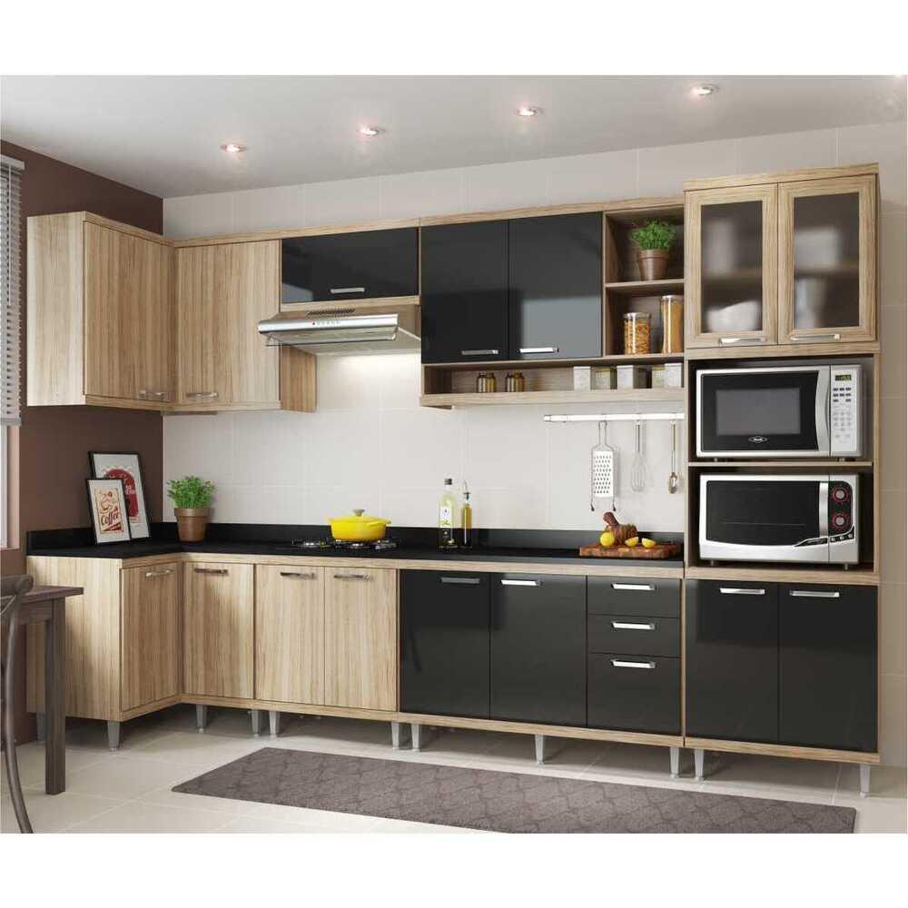 Cozinha Completa Multimóveis com 8 peças Sicília 5831 Argila/Preto