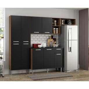 Cozinha Compacta Pequim 9 Portas MP2933 Multimóveis Carvalho Avelã/Preto