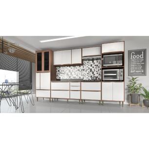 Cozinha Completa 6 peças Calábria Snow Nogueira/Branco